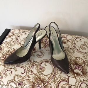 Guess Brown Patent Leather Slingback Heels